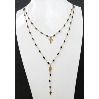 Sautoir / chapelet religieux en pierre d'onyx, madone, croix & chaine plaqué or 50 cm - La belle Simone Bijoux