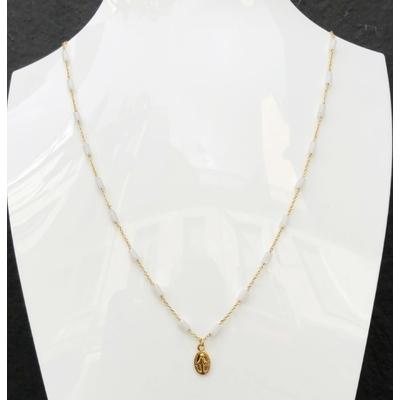 Collier religieux pierre de lune, madone & chaine plaqué or 40 cm - La belle Simone Bijoux