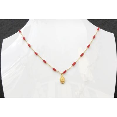 Collier religieux en Corail, madone & chaine plaqué or 40 cm - La belle Simone Bijoux