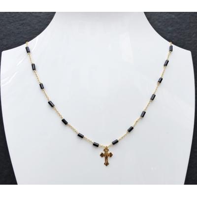 Collier religieux en Onyx, croix & chaine plaqué or 40 cm - La belle Simone Bijoux