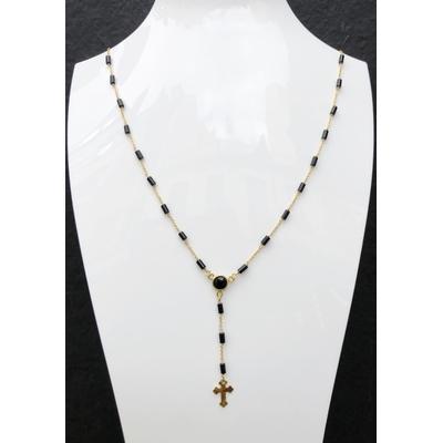 Sautoir / chapelet religieux en pierre d'onyx, croix & chaine plaqué or 50 cm - La belle Simone Bijoux