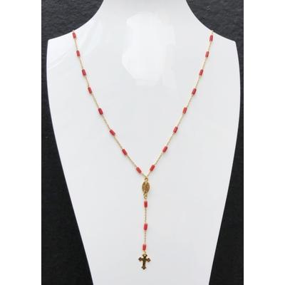 Sautoir / chapelet religieux en pierre de corail, madone, croix & chaine plaqué or 50 cm - La belle Simone Bijoux