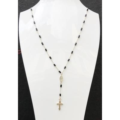 Sautoir / chapelet religieux en pierre d'onyx, madone, croix & chaine plaqué argent 50 cm - La belle Simone Bijoux