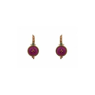 BO dormeuses cristaux Swarrovski et velours rose petit modele Collection Annouck - bijoux Satellite