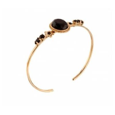 Bracelet jonc cristaux Swarovski noir Collection Annouck - bijoux Satellite