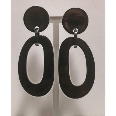 Boucles d'oreilles clips anneau allongé noir - Marion Godart