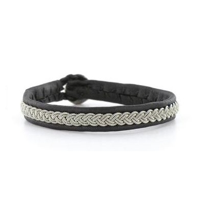Bracelet SAMIS collection Classic cuir naturel de renne et fils d'argent - Hanna Wallmark