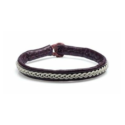 Bracelet MOSSA ONE collection Classic cuir naturel de renne et fils d'argent - Hanna Wallmark