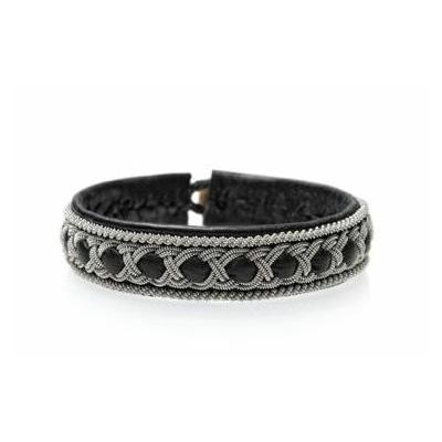 Bracelet AURORE DE LUXE collection Classic cuir naturel de renne et fils d'argent - Hanna Wallmark