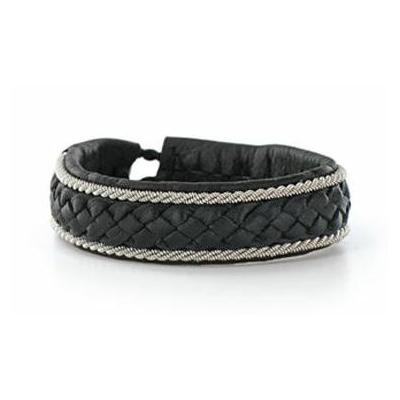 Bracelet BOREALE collection Classic cuir naturel de renne et fils d'argent - Hanna Wallmark