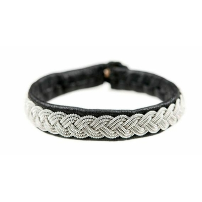Bracelet FAME collection Classic cuir naturel de renne et fils d'argent - Hanna Wallmark