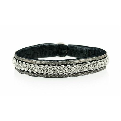 Bracelet BLIXT collection Nocturne cuir naturel de renne et fils d'argent - Hanna Wallmark