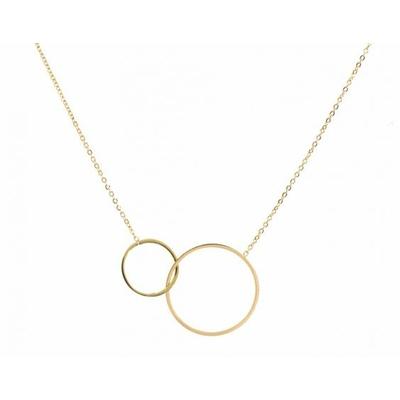 Collier 2 anneaux entrelacés doré Lg 37cm + 5cm rallonge pendentif diamètres  2,3cm et 1,4cm acier inoxidable - Mile Mila