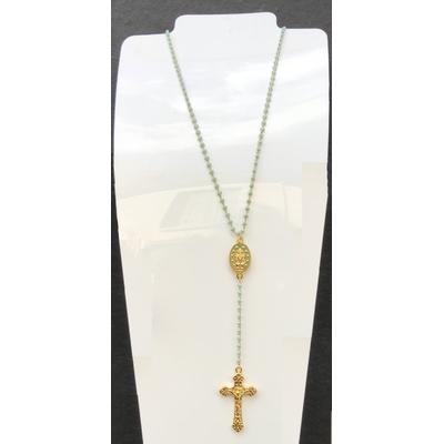 Collier religieux en émail bleu médaille recto-verso madone-croix + croix - chaine doré  56cm + rallonge et pendentif 13cm  - La belle Simone Bijoux