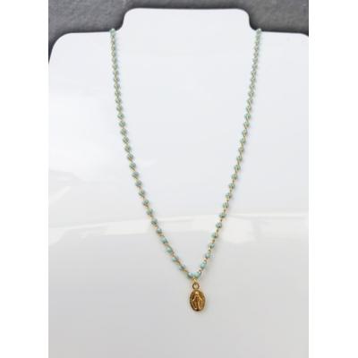 Collier religieux en émail bleu petite médaille recto-verso madone-croix  chaine doré 36cm + ralonge  - La belle Simone Bijoux