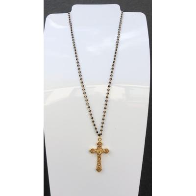 Collier religieux en émail noir croix et chaine doré  44 cm  + rallonge - La belle Simone Bijoux