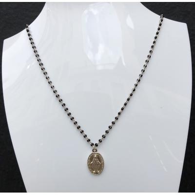 Collier religieux en émail noir médaille recto-verso madone-croix - chaine argenté  44 cm  + rallonge - La belle Simone Bijoux