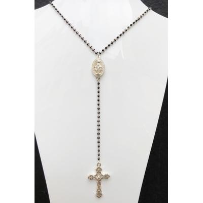 Collier religieux en émail noir médaille recto-verso madone-croix + croix argent- chaine argenté  56cm + rallonge pendentif 13cm  - La belle Simone Bijoux