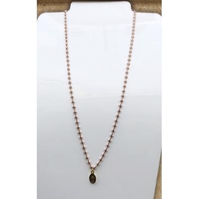 Collier religieux en émail rose petite médaille recto-verso madone-croix - chaine doré 44 cm  + rallonge - La belle Simone Bijoux