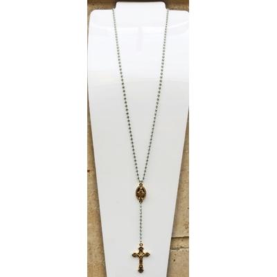 Collier religieux en émail vert médaille recto-verso madone-croix + croix - chaine doré  56cm + rallonge et pendentif 13cm  - La belle Simone Bijoux