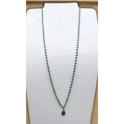 Collier religieux en émail vert petite médaille recto-verso madone-croix - chaine doré 44 cm  + rallonge - La belle Simone Bijoux