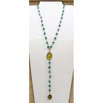 Collier religieux perles de verre vertes médaille jaune recto-verso madone-croix  chaine argenté 44cm + rallonge pendentif 12cm - La belle Simone Bijoux