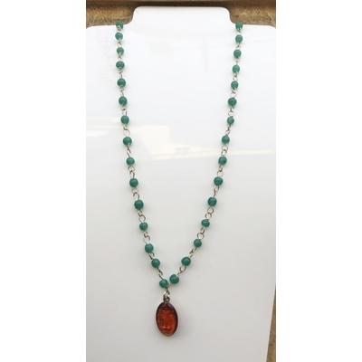 Collier religieux perles de verre vertes médaille orangé recto-verso madone-croix  chaine argenté 44cm + rallonge  - La belle Simone Bijoux