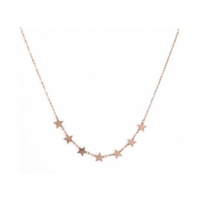 Collier 7 étoiles or rose Lg 37cm + 5cm rallonge pendentif H 0.70cm L0.70cm acier inoxidable - Mile Mila