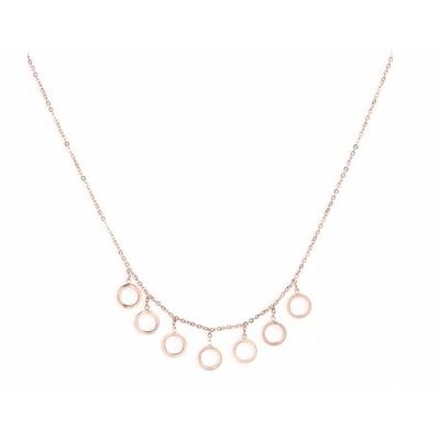 Collier 7 bulles or rose Lg 37cm + 5cm rallonge pendentif H 0.80cm L0.80cm acier inoxidable - Mile Mila