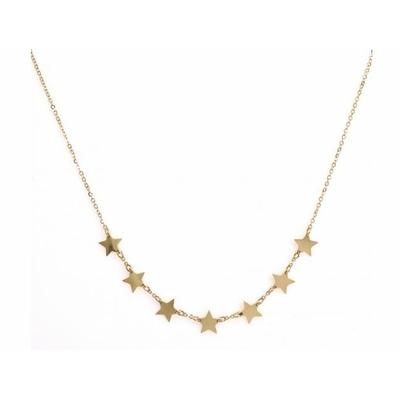 Collier 7 étoiles doré Lg 37cm + 5cm rallonge pendentif H 0.70cm L0.70cm acier inoxidable - Mile Mila