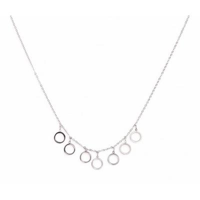 Collier 7 bulles argent Lg 37cm + 5cm rallonge pendentif H 0.80cm L0.80cm acier inoxidable - Mile Mila