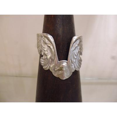bracelet ailes oiseau plaqué argent patiné ajustable sans nickel inoxydable  lotta djossou