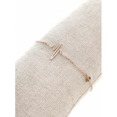 Bracelet battements coeur + petit coeur or rose avec chaine de sécurité pendentif H1.30cm L1.50cm acier inoxydable - Mile Mila