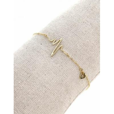 Bracelet battements coeur + petit coeur doré avec chaine de sécurité pendentif H1.30cm L1.50cm acier inoxydable - Mile Mila