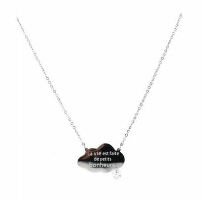Collier -la vie est faite de petits bonheurs-  argent Lg 37cm + 5cm rallonge pendentif H1.50cm L2.30cm acier inoxydable - Mile Mila