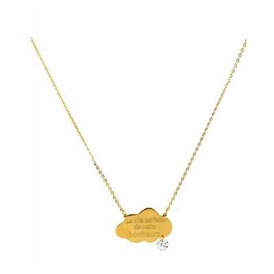 Collier -la vie est faite de petits bonheurs-  doré Lg 37cm + 5cm rallonge pendentif H1.50cm L2.30cm acier inoxydable - Mile Mila