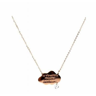 Collier -la vie est faite de petits bonheurs- or rose Lg 37cm + 5cm rallonge pendentif H1.50cm L2.30cm acier inoxydable - Mile Mila