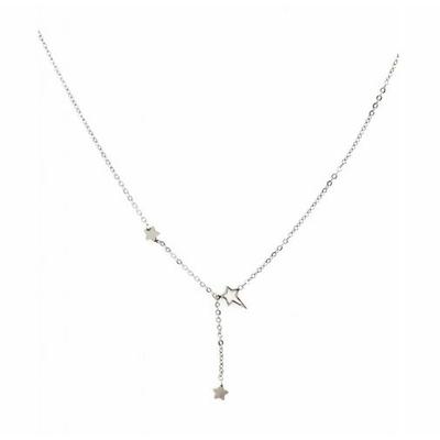 Collier 3 étoiles argent Lg 37cm + 5cm rallonge pendentif H2.50cm L0.70cm acier inoxydable - Mile Mila