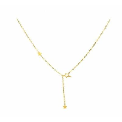 Collier 3 étoiles doré Lg 37cm + 5cm rallonge pendentif H2.50cm L0.70cm acier inoxydable - Mile Mila
