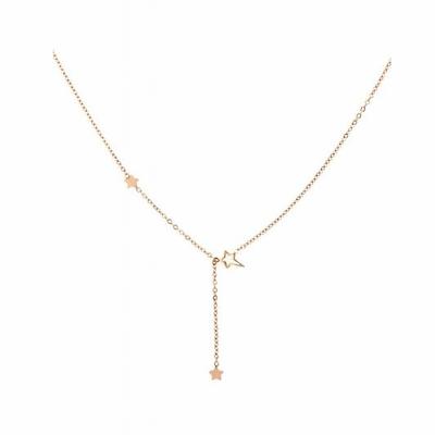 Collier 3 étoiles or rose Lg 37cm + 5cm rallonge pendentif H2.50cm L0.70cm acier inoxydable - Mile Mila
