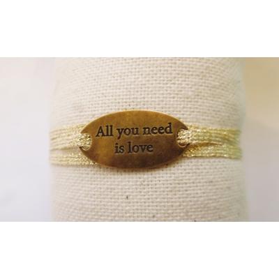 bracelet  médaille ALL YOU NEED IS LOVE bronze 3 brins or jaune clair LA BELLE SIMONE