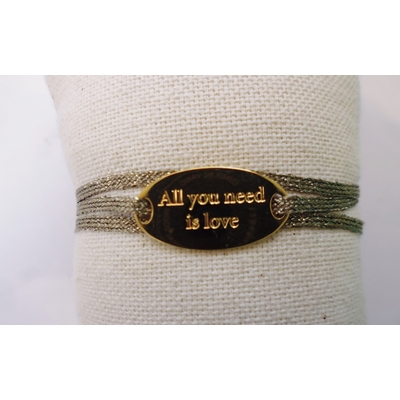 bracelet  médaille ALL YOU NEED IS LOVE plaqué or jaune 3 brins argent foncé LA BELLE SIMONE
