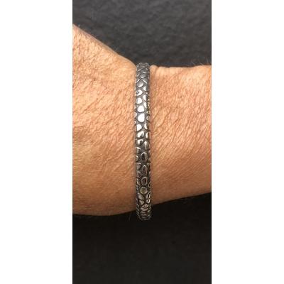 Bracelet jonc modèle PETITES ECAILLES en zamak argent SHABADA