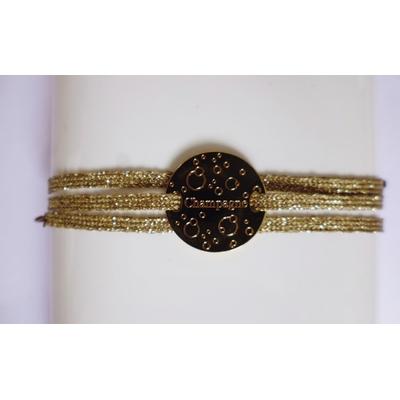 bracelet  médaille CHAMPAGNE plaqué or jaune 3 brins or jaune LA BELLE SIMONE