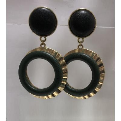 BO capsule clous en cuir noir et or - La belle Simone Bijoux