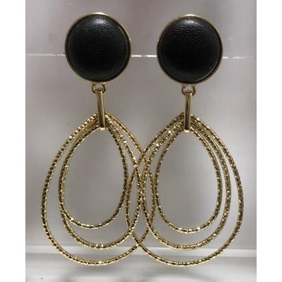 Boucles d'oreilles poire en cuir noir pendant en métal doré - La Belle Simone Bijoux