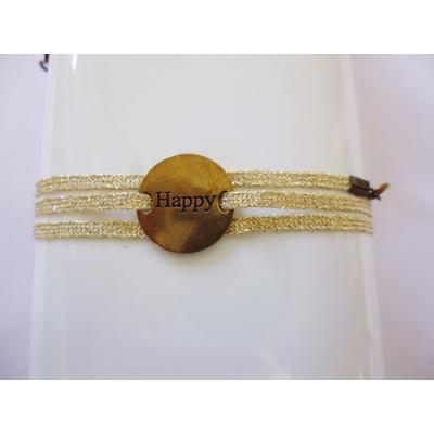bracelet  médaille HAPPY bronze 3 brins or clair LA BELLE SIMONE