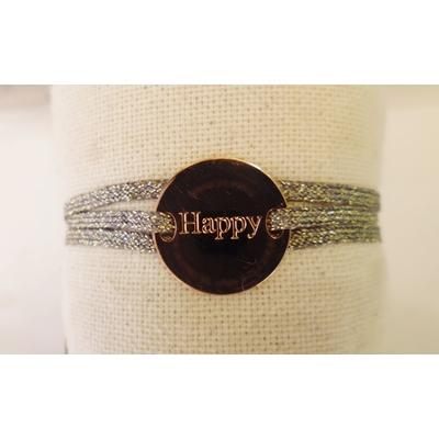 bracelet  médaille HAPPY plaqué or rose 3 brins kaki doré LA BELLE SIMONE