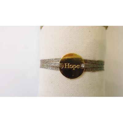 bracelet  médaille HOPE plaqué or jaune 3 brins argent foncé LA BELLE SIMONE