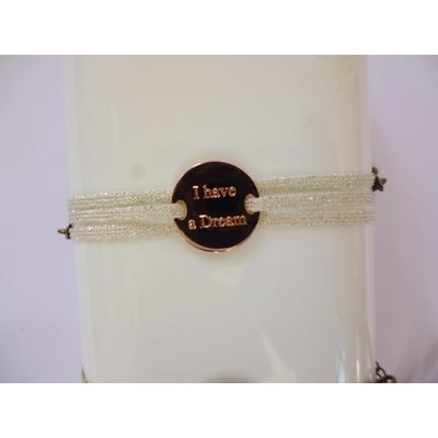 bracelet  médaille I HAVE A DREAM plaqué or rose 3 brins agent clair LA BELLE SIMONE